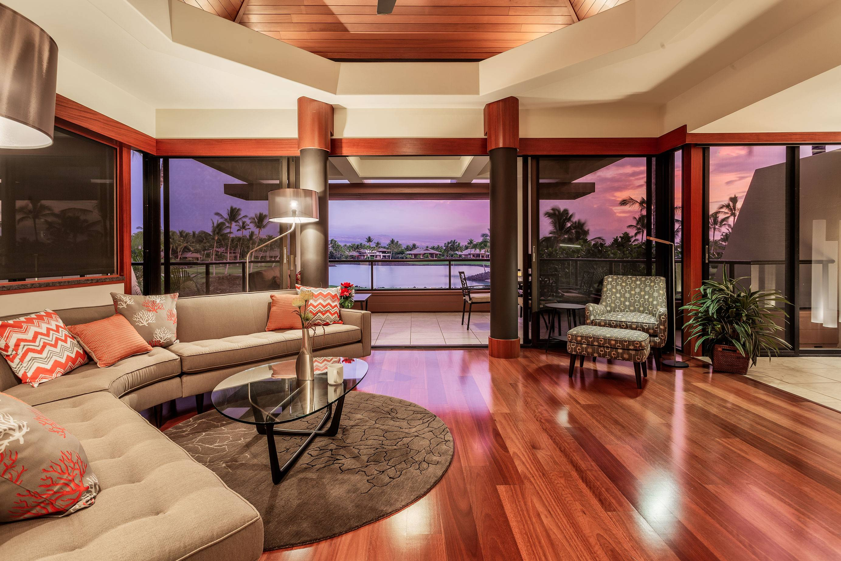 Modern interior of Mauna Lani Point Condos on the Big Island