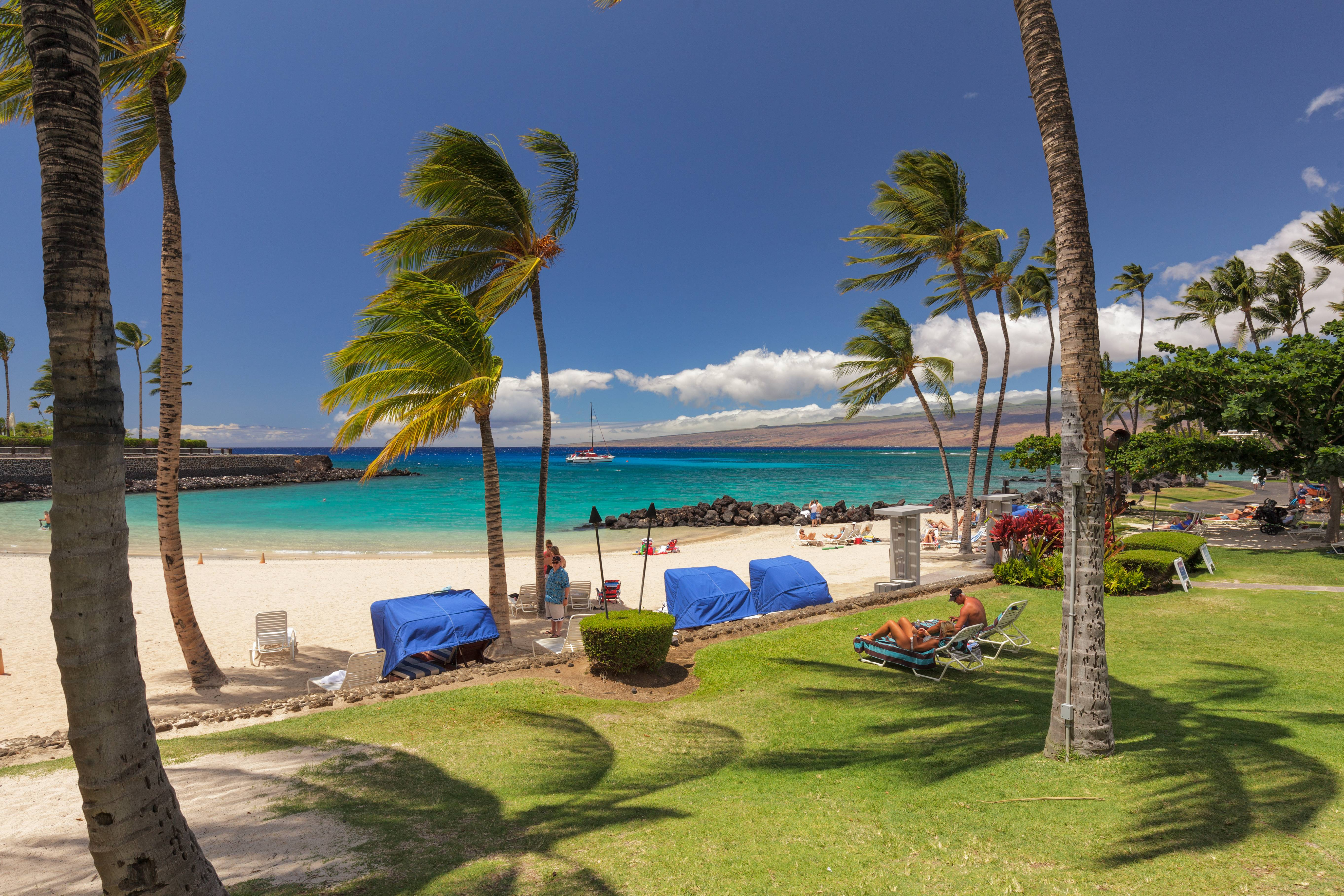 Beautiful beach used by guests of the Mauna Lani Private Homes