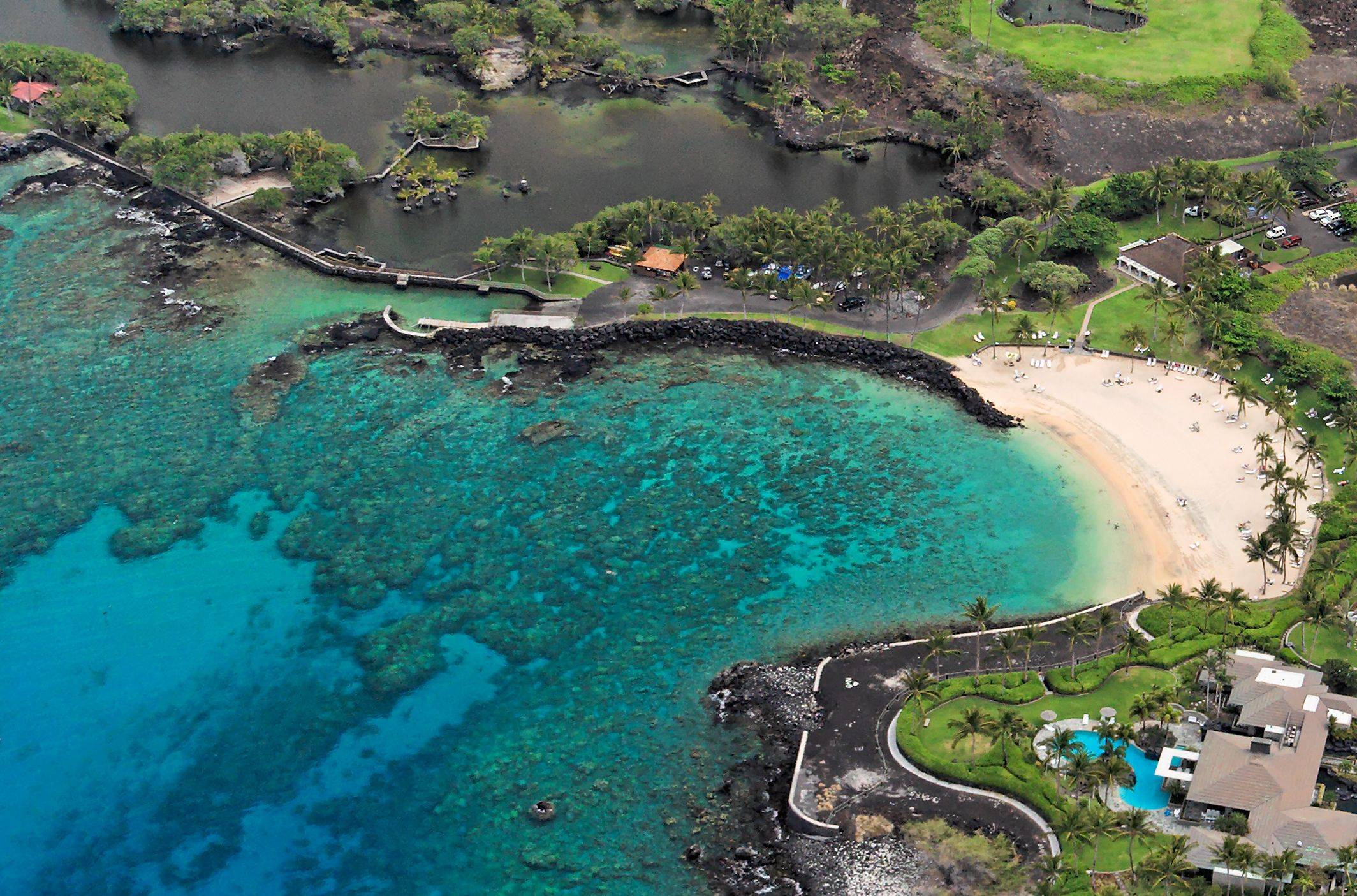 Overhead view of Mauna Lani beach