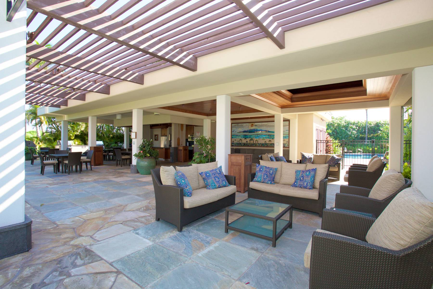 Pool BBQ area at Mauna Lani Point Condominiums