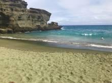 Green sand beach.